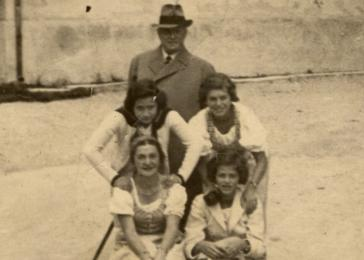 Margit Mowawetz poses with friends in Alt Aussee. Margit is pictured in the center left.