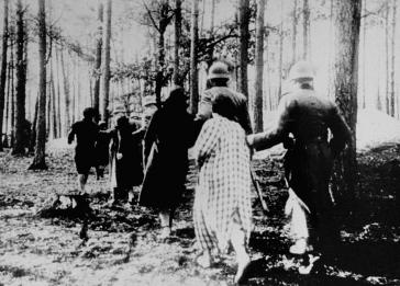 Polish women being led to a German execution site in the Palmiry forest, near Warsaw late 1939.