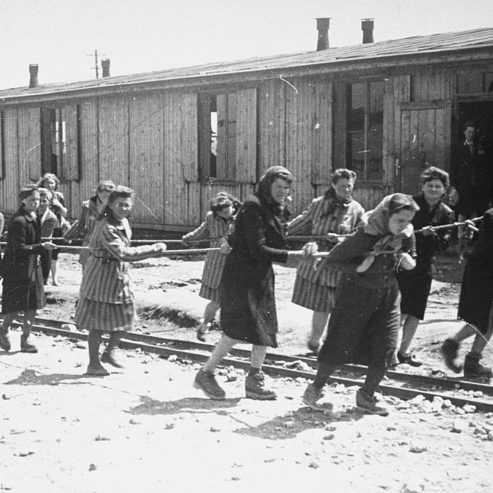 Jewish women at forced labor in the Plaszow concentration camp, 1943–44.