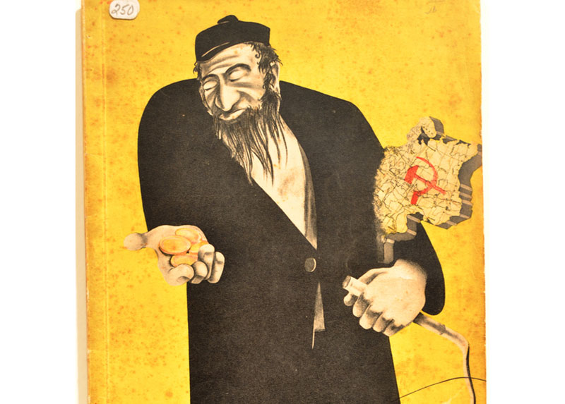 A book cover with an antisemitic drawing of a Jewish man