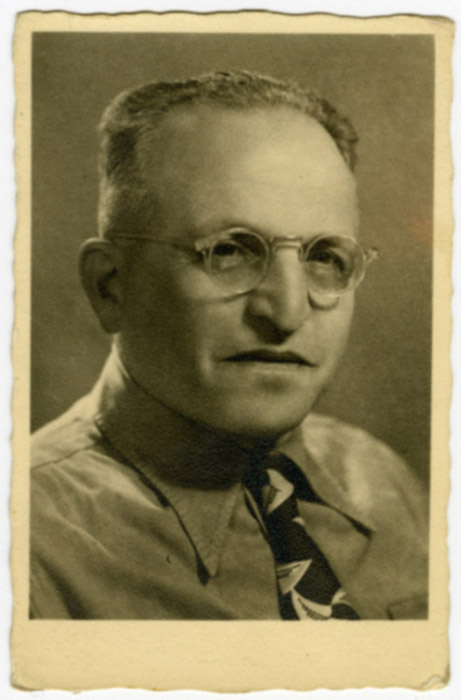Studio portrait of Lajos Ornstein taken on the third anniversary of his arrival in Israel. Haifa, Israel, March 19, 1952.