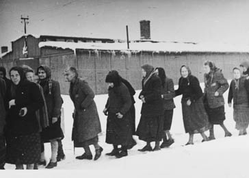 Female survivors trudge through the snow immediately after the liberation of Auschwitz-Birkenau.