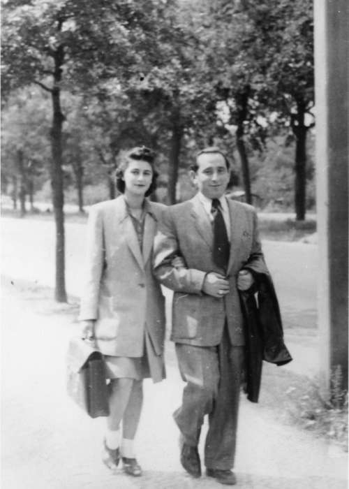 Miles and Chris Lerman walk along a street in Berlin while living in the Schlachtensee displaced persons camp. Berlin, Germany, March 1946. <i>US Holocaust Memorial Museum</i>