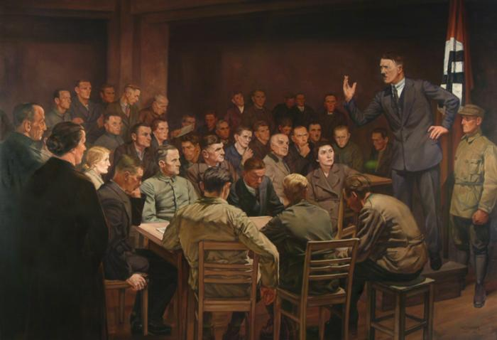 Hermann Otto Hoyer, <i>In the Beginning Was the Word</i>, ca. 1937. German artist Hoyer depicted a quasi-messianic Hitler mesmerizing an audience with his oratory in the 1920s. <i>US Holocaust Memorial Museum, courtesy of US Army Center of Military History, Washington, DC</i>