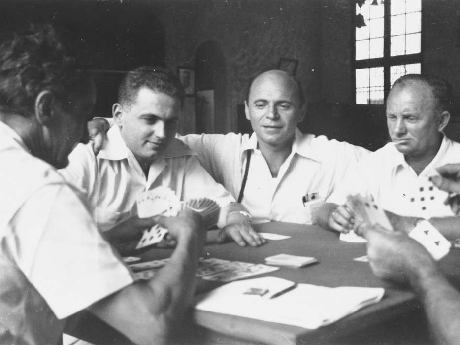 Four Jewish DP immigrants play cards in Panama City. Among those pictured is David Bayer.