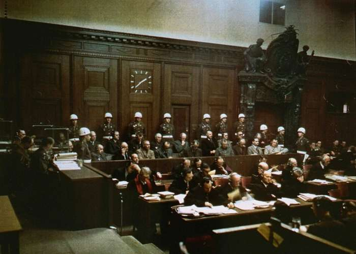 View of the defendants in the dock at the International Military Tribunal during the trial of war criminals at Nuremberg.