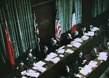 View from of the judges' bench at the International Military Tribunal in Nuremberg. Between October 18, 1945, and October 1, 1946.