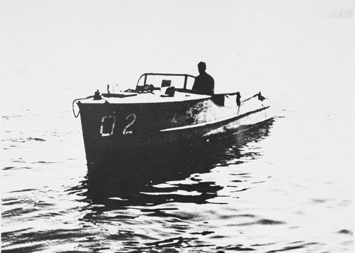 View of a Danish fishing boat that was used in the rescue of Jews during the occupation of Denmark. Driven by Thormod Larsen, this boat is now on display in the Permanent Exhibition of the United States Holocaust Memorial Museum.