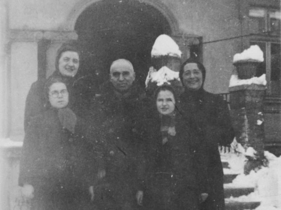 The Laszlo Family poses in Miskolc. Pictured are Zoltan, Rosalia, Agnes, Zsuzsi and an unidentified female teacher.