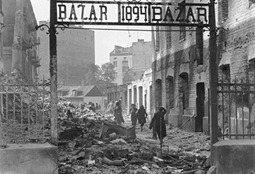 The entrance to a marketplace reduced to rubble as a result of a German aerial attack. Warsaw, Poland, September 1939.