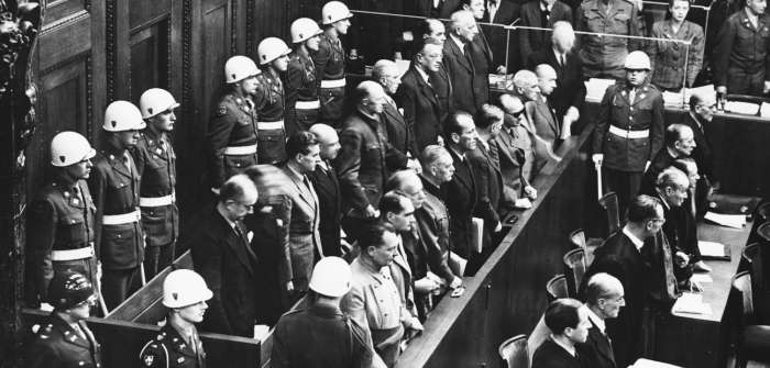 Top Nazi officials stand in the dock during the International Military Tribunal in Nuremberg, Germany.