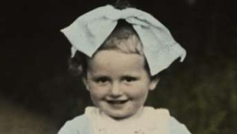 Close-up portrait of young Jewish toddler, Sala Perec.