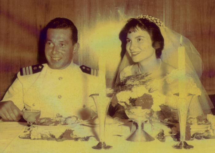 Wedding portrait of Freddie Traum and Josiane Aizenberg.