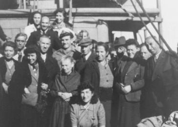 German and Austrian Jews who survived the war in Albania, aboard a British ship taking them to a DP camp Tricase Porto in Italy.