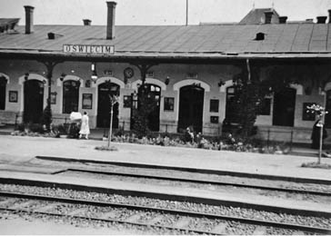 View of the train station in Oswiecim, Poland, before the war.
