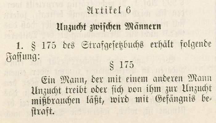 Excerpt of the page from the <i>Tag der Ausgabe</i> that includes the text of Paragraph 175.