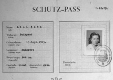 "Swedish ""protective pass"" issued to Lili Katz, a Hungarian Jew. Budapest, Hungary, August 25, 1944."
