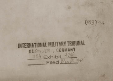 "Cover page of a copy of the Stroop Report, entitled ""The Jewish Quarter of Warsaw is no more!"" The report was entered into evidence at the International Military Tribunal in Nuremberg and stamped as exhibit 275."