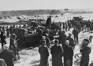 After the liberation of Bergen-Belsen, British soldiers forced German mayors from nearby towns to view mass graves.