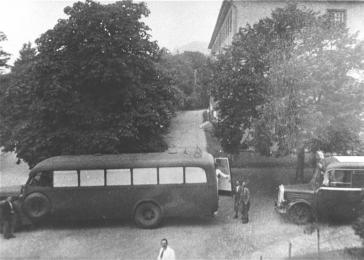 "Buses operated by the T-4 transport company Gekrat, which conveyed victims to the ""euthanasia"" centers. Wiesbaden, Germany, 1941."