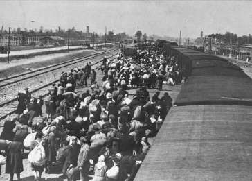A transport of Jews from Carpathian Ruthenia is taken off the trains and assembled on the ramp at Auschwitz-Birkenau.