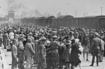 Jews from Subcarpathian Rus (then part of Hungary) undergo a selection on the ramp at Auschwitz-Birkenau. May 1, 1944.