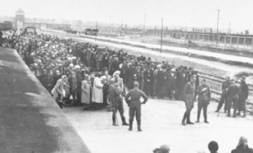 "SS Erkennungs Dienst, View of the Ramp at Auschwitz-Birkenau Showing the SS Selection of Hungarian Jews (c. 1944). This view, from the so-called ""Auschwitz Album,"" was taken by an SS Erkennungsdienst photographer documenting the arrival process and selection for forced labor or death of the Hungarian Jews (Data Source: Yad Vashem (Public Domain), Panstwowe Muzeum w Oswiecim-Brzezinka Panstwowe Muzeum w Auschwitz-Birkenau w Oswiecimiu)"
