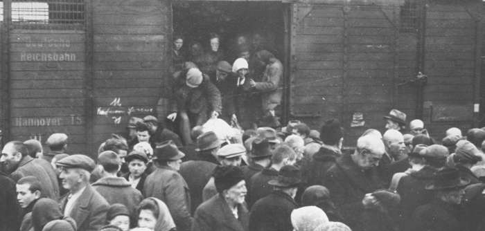 Jews from Hungarian-occupied Subcarpathian Rus arrive at Auschwitz-Birkenau