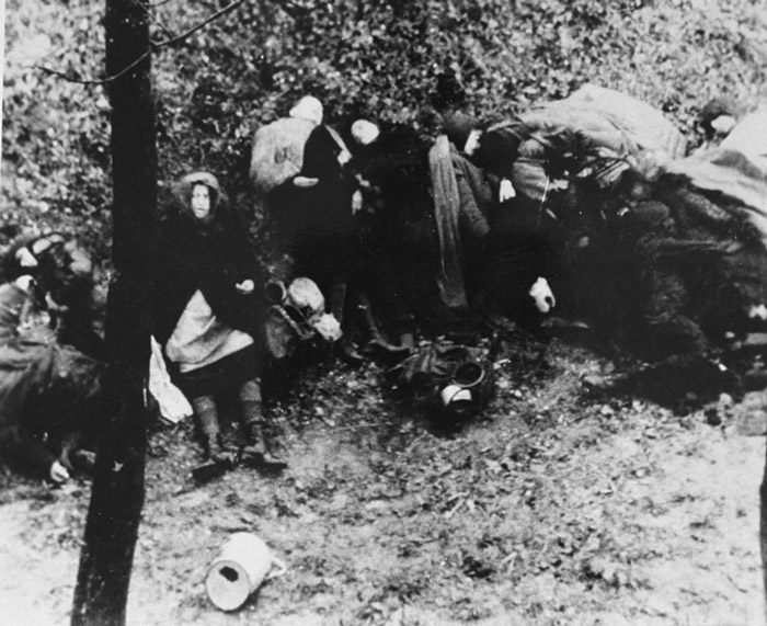 Victims of a death march from Budapest to the Austrian border. Hungary, November 1944.