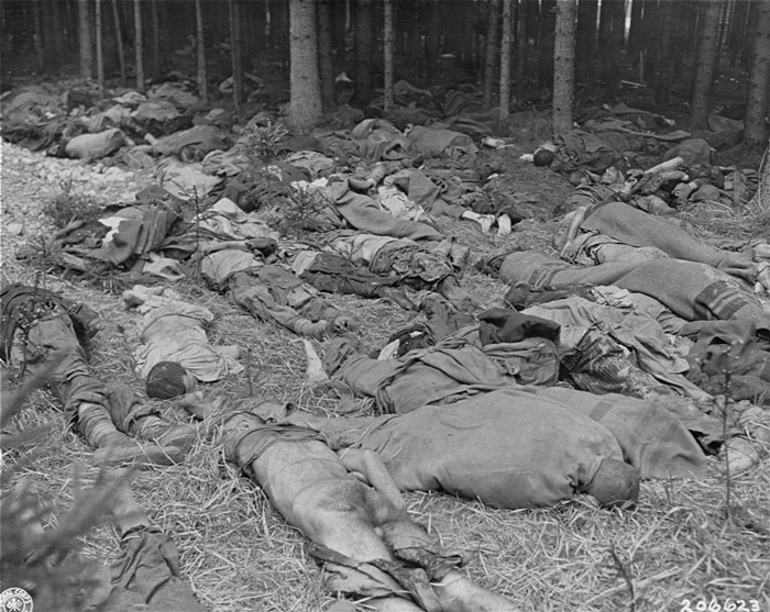 Corpses of prisoners in a wooded area of the Gunskirchen concentration camp. Gunskirchen, Austria, May 7, 1945.