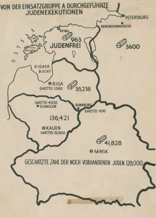 "Map from the Stahlecker Report, entitled, ""Jewish Executions Carried out by Einsatzgruppen A."" This map was entered into evidence at the Einsatzgruppen trial. The map shows the area between the German-Soviet Demarcation Line and the area of the farthest German Army advance in the Soviet Union at the time. A Summary Report of charts, maps, and illustrations were compiled by SS-Brigadier General Stahlecker. This information was presented to the Reich Security Main Office in Berlin on October 16, 1941. All of the deaths recorded in this map occured between June 22, 1941 and October 15, 1941."