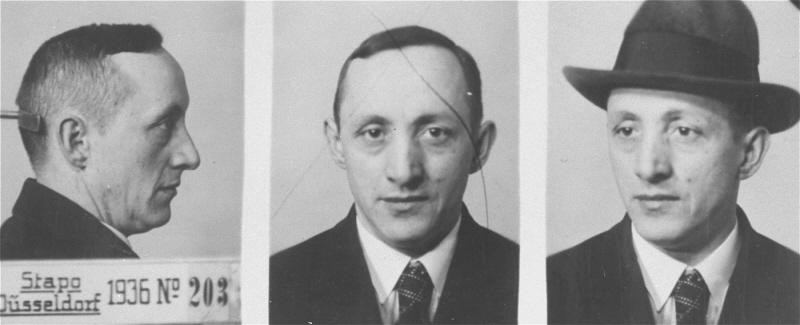 Mug shots of Heinrich Heine, a shop assistant from Neuss, Germany. He was placed in protective custody for participating in illegal activities as a Jehovah's Witness. Düsseldorf, Germany, 1937–38.