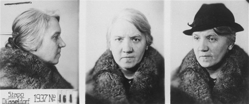 Mug shots of Else Woieziek, a Jehovah's Witness sentenced to death and executed in 1944. Düsseldorf, Germany, 1937–38.