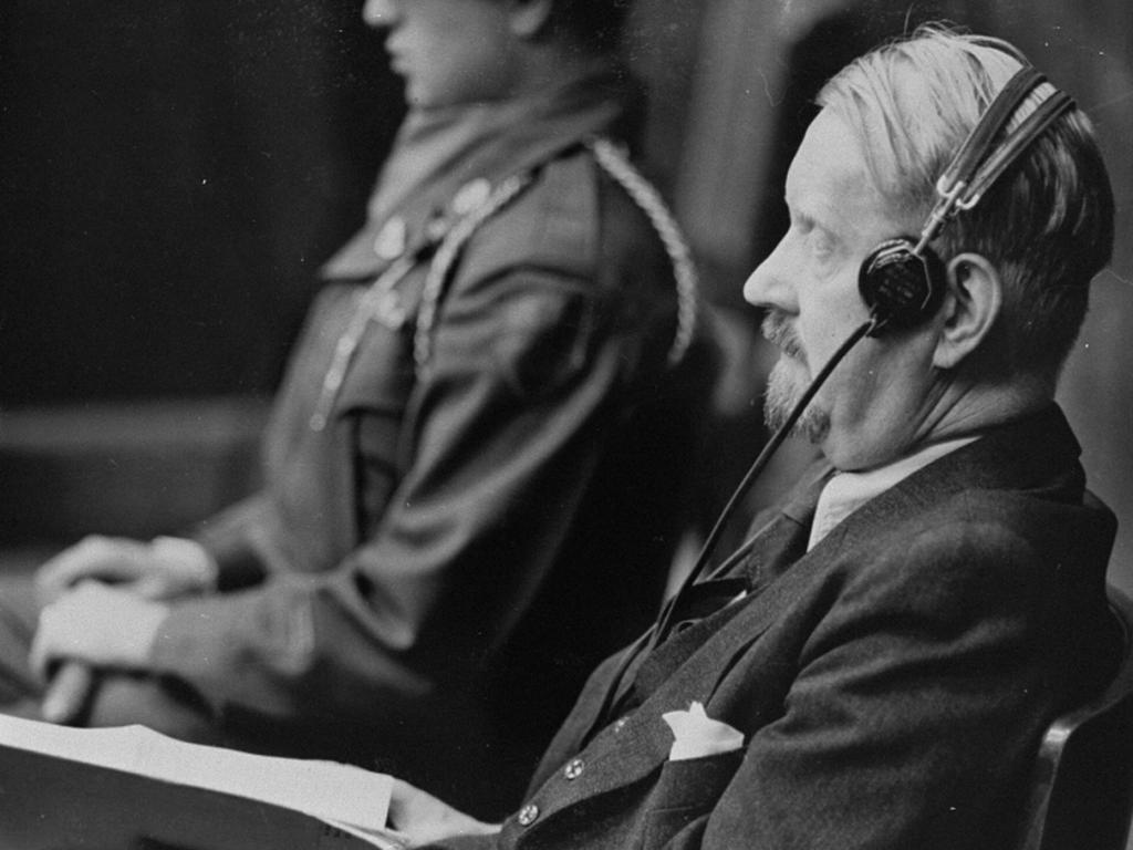 Dr. Gerhard Rose on the first day of his testimony in his own defense during the Doctors Trial. Rose was a former medical advisor to the Luftwaffe medical service.