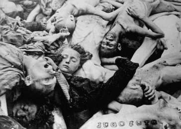 A pile of corpses in the newly liberated Dachau concentration camp. Dachau, Germany, April 29-May 1945. <i>US Holocaust Memorial Museum, courtesy of Muzeum Niepodleglosci</i>