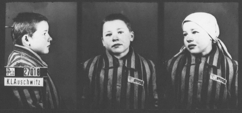 Mug shot of 13 year old Auschwitz prisoner Michalina Petynko, who was classified as a Polish political prisoner. She arrived at Auschwitz with her mother on December 13, 1942, and died on August 13, 1944. Michalina&#8217;s mother died three months after her arrival. <i>State Museum of Auschwitz-Birkenau, Oświęcim, Poland.</i>