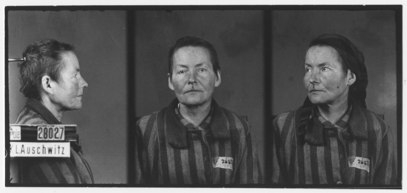 Mug shot of Eugenia Smolenka, who was born October 2, 1886. She entered Auschwitz on November 27, 1942, and died there March 8, 1943.
