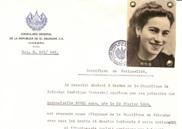 Many certificates were sent to Jews already interned in concentration camps. This certificate was sent to Anna Sprei in Birkenau in December 1943. Almost exactly six months later, Mandel-Mantello launched a press campaign which leaked the Auschwitz Protocol, a clandestine report written by two escapees that testified that over 1,700,000 Jews had been killed in Auschwitz-Birkenau.