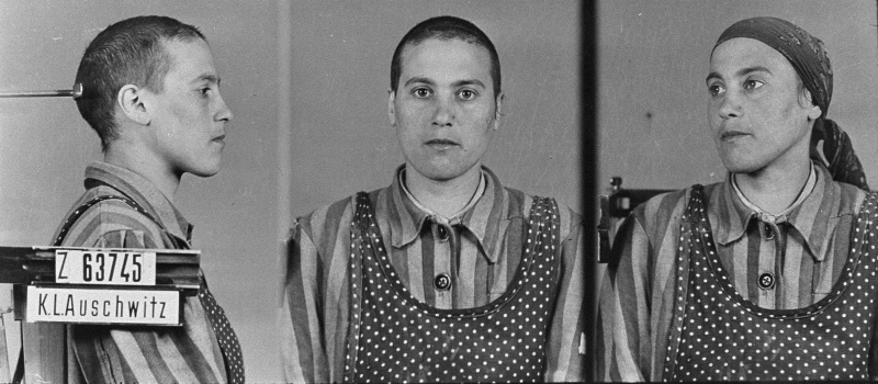 Mug shot of a young Roma (Gypsy) woman in Auschwitz. Black and sometimes brown triangles were sometimes used to identify Roma and Sinti inmates. <i>State Museum of Auschwitz-Birkenau, Oświęcim, Poland</i>