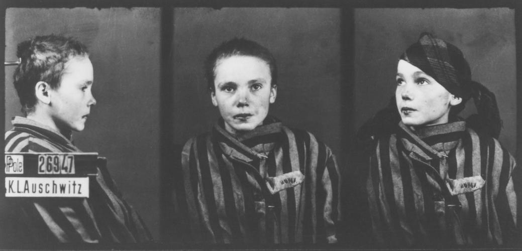 Auschwitz mug shot of Czeslawa Kwaka, who was born August 15, 1928. She arrived at Auschwitz on December 13, 1942, and died there March 12, 1943.