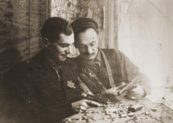 Resistance leader Chaim Yelin (right) and his assistant Moshe Musel of the Kovno ghetto's Jewish Fighting Organization. <i>US Holocaust Memorial Museum, courtesy of Pola Musel</i>