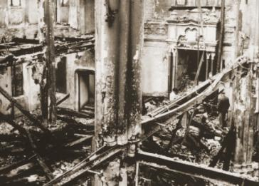 View of the destroyed interior of the synagogue in Opava after Kristallnacht.