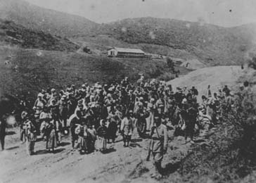 Ottoman troops guard Armenians being deported. Ottoman Empire, 1915–16.