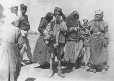 Armenian refugees near Kharput, Ottoman Empire, ca. 1915. Photograph taken by Leslie A. Davis. Davis was one of 13 American consuls stationed in the Ottoman Empire. Many of these diplomats were eyewitnesses to atrocities and sent dispatches to the US ambassador in Constantinople, Henry Morgenthau Sr. While traveling by horseback in eastern Anatolia, Davis documented forced marches and massacre sites.