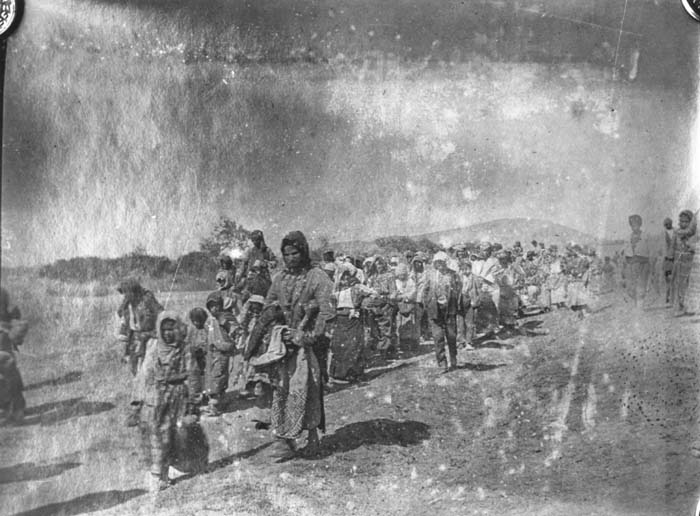 A line of Armenian refugees, predominantly women and children, walking toward Kharput. Ottoman Empire, ca. 1915. Photograph taken by Leslie A. Davis. Davis was one of 13 American consuls stationed in the Ottoman Empire. Many of these diplomats were eyewitnesses to atrocities and sent dispatches to the US ambassador in Constantinople, Henry Morgenthau Sr. While traveling by horseback in eastern Anatolia, Davis documented forced marches and massacre sites.
