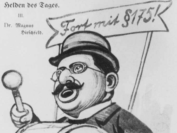 A 1907 political cartoon depicting sex-researcher Magnus Hirschfeld drumming up support for the abolition of Paragraph 175 of the German penal code that criminalized homosexuality.