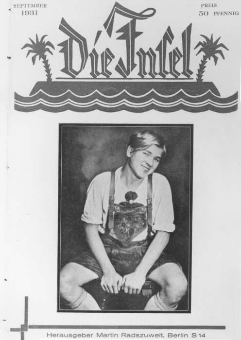 Cover of the September 1931 issue of <i>The Island</i>, a magazine for homosexuals, edited by Martin Radzuweit.