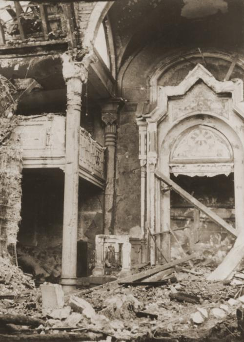 View of the burned-out sanctuary of the Kaiser-Wilhelmstrasse synagogue that was destroyed on Kristallnacht.