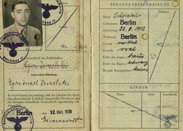 "Subsequent legislation from the Nuremberg Laws forced most Jews to adopt ""Israel"" as a middle name if they were male, or ""Sarah"" if they were female. Here the German identification papers of Egon Isaelski bearing the forced middle name ""Israel."" Berlin, Germany, October, 12, 1938."