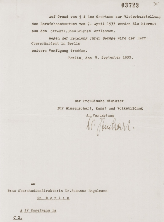 Letter notifying Dr. Susanne Engelmann that she has been dismissed from her teaching position in compliance with the new Civil Service Law of April 7, 1933.